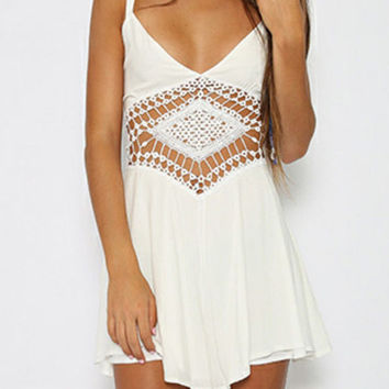 White Lace Applique Pleated Romper with Strap