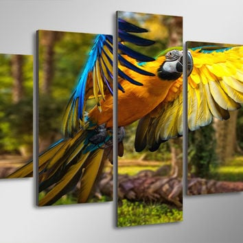 Tropical Parrot Flying 5-Piece Wall Art Canvas
