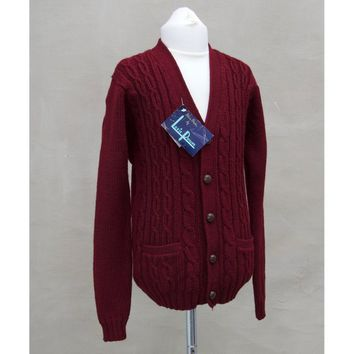 Vintage cardigan, 1960's Boy's chunky knitted cardigan, maroon wool sweater, Children's knitwear / knitting, Childrenswear, Cable knitwear
