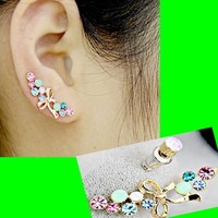 Bow And Rainbow Long Clip Ear Pin Asymmetric Set (2 Pieces)
