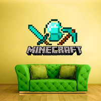 Full Color Wall Decal Vinyl Sticker Decor Art Bedroom Design Mural Like Paintings Minecraft Sword Diamond Ore Pickaxe Video Game (col532)