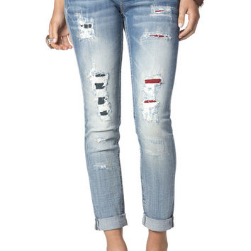 Distressed American Flag Cuffed Skinny Jeans