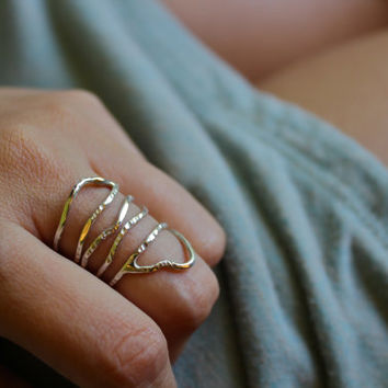 Hammered Elven Ring- Spiral - Organic -Winter Fashion