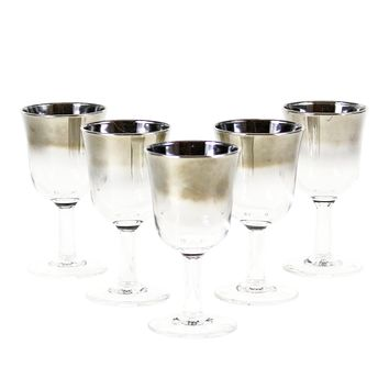 Silver Ombre Crystal Sherry Glasses, France