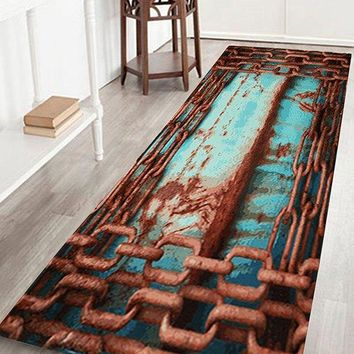 Coral Velvet Rusty Chain Large Size Area Rug