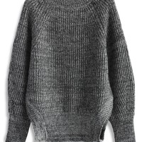 Stay Warm and Chic Ribbed Sweater in Grey