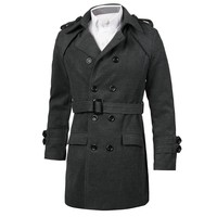 Mens jacket peacoat belted trench coat collared professional button up