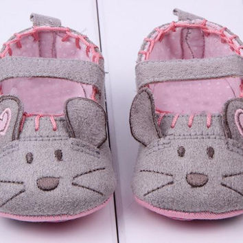 Cute Baby Girls First walkers Cotton Grey Cartoon Mouse Soft with Pattern Shading Soft Sole Baby Toldder Prewalkers Shoe 3 size NW