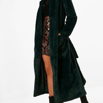Phoebe Boutique Belted Faux Fur Robe Coat | Boohoo