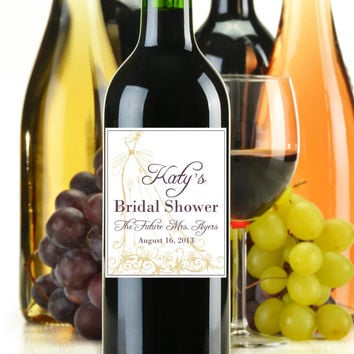 Bridal Shower Wine Bottle Labels You Choose Colors Customized Personalized Set of 4