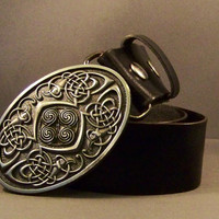 Black Leather Snap Belt with Fashion Silver Buckle