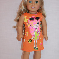 18 inch doll clothes, orange graphic print tank dress, sleeveless summer dress, girl with ice cream print dress,  American girl, Maplelea