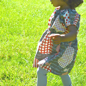 Little Girl Dress Tunic with Cap Sleeves - Grey and Red Designer Japanese Pear Fabric - Choose Size