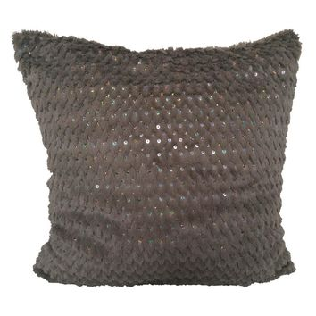 """Faux Fur Chevron-Stripe Sequined Pattern 18""""x18"""" Pillow Cover - Smoked Olive"""