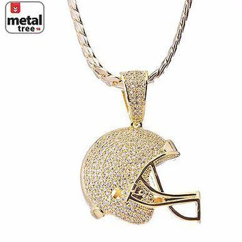 Jewelry Kay style Men's Fashion Football Helmet Pendant Gold Plated Miami Cuban Chain BCH 1149 G