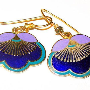 "Laurel Burch Plum Blossom Earrings Wire Hooks Blue Purple Enamel Gold Metal 1.5"" Vintage"