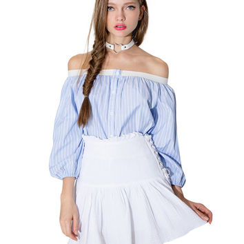 Off-shoulder Striped Puff Sleeve Top