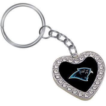 Touch by Alyssa Milano Carolina Panthers Crystal Heart Keychain
