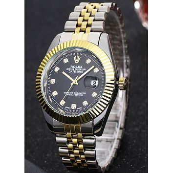 Rolex men and women trendy fashion watch F-PS-XSDZBSH Gold case + black dial