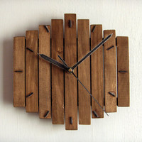 Wooden wall hanging clock wood walnut old silent sweep mechanism