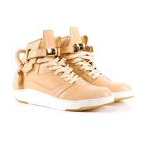 Buscemi Tan High Tops with Gold Hardware