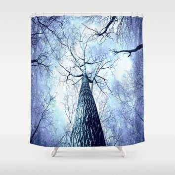 Wintry Trees Periwinkle Ice Blue Space Shower Curtain by 2sweet4words Designs