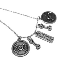 Strong Is Beautiful + 2 Dumbbells + 2 Plates Charm Necklace - Weightlifting Exercise Crossfit Fitness Charm Lifting Kettlebell Pendant  Gift