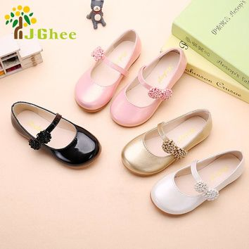 2017 Autumn Girls Shoes Princess Kids Flat Shoes PU Leather Children Casual Shoes With Flowers Party Show Shoes For Girls
