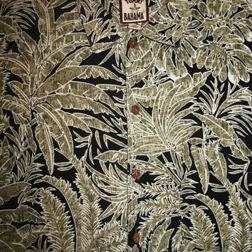 Amazing Vintage Hawaiian Shirt TOMMY BAHAMA Tropical Leaves 100% Silk Size L  Very Collectible