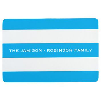 Blue and White Stripe Custom Floor Mat with NAME