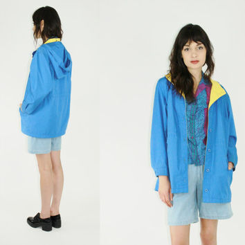 vtg 80s london fog parka bright blue jacket color block hoodie blue anorak casual jacket medium med m