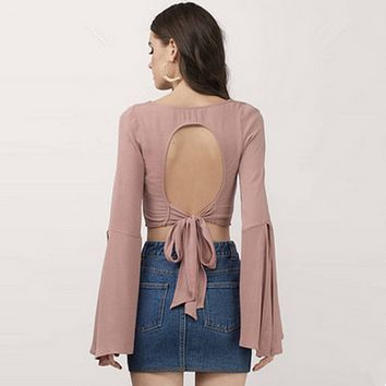 Fashion V-Neck Backless Solid Color Split Pagoda Sleeve Women's T-shirt Crop Tops