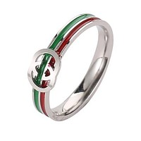 GUCCI Trending Women Men GG Letter Red Green Stripe Stylish Ring Accessories Jewelry