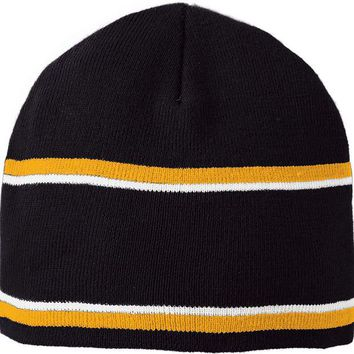 DCCKSW1 Holloway 223832?Engager Beanie - Black Light Gold White