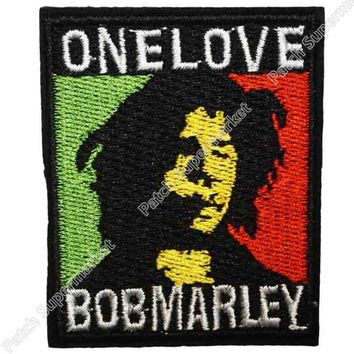 Bob Marley One Love Music Band Embroidered LOGO Iron On Patch Emo Goth Clothes Punk Rockabilly patchwork accessories clothes