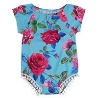 Newborn Baby Girl Kids Tassel Floral Romper Jumpsuit Outfits Clothes