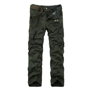 Spring Cotton Military Cargo Pants Loose Trousers Men