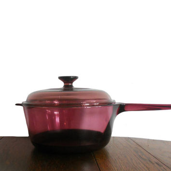 Vintage CorningWare Visions Sauce Pan with Lid - Cranberry Glass