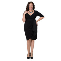 Kiyonna Women's Plus 'Harlow' Faux Wrap Dress | Overstock.com Shopping - The Best Deals on Dresses
