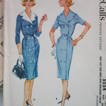 Vintage McCalls Uncut Printed Pattern 5554 Factory Folds Size 12 1/2 Coat Dress with Detachable Collar 1960s - 1970s