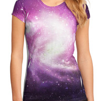 Purple Galaxy AOP Juniors Petite Sub Tee Single Side All Over Print