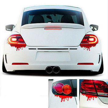 1 X Red Blood Car Stickers Reflective Car Decals Light Bumper Body Sticker