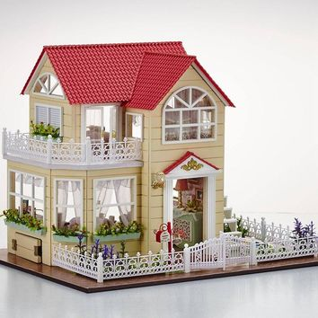 Wooden Princess Room Dollhouse With Furniture, LED Lights and Music