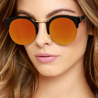 Live Your Life Black and Orange Mirrored Sunglasses