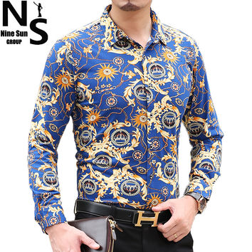TOP NS Brand Design Size Big Long Sleeve Mens Dress Shirts Luxury Stylish Noble Flower Casual Men Shirt Spring Summer Men 's Top