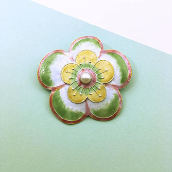 Glass Enamel and Pearl Flower Brooch - Vintage Flower Pin - Glass Enamel on Silver - Green Flower - Modern Flower Jewelry - Wearable Art