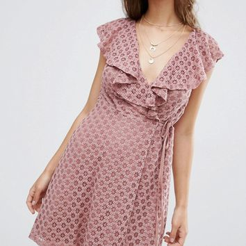 ASOS Ruffle Wrap Lace Dress at asos.com