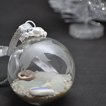 Coastal Christmas, Beach Ornament, Sea Glass Ornament, Dolphin Ornament, Etched glass Ornament, Beach Theme Gift, Beach Wedding