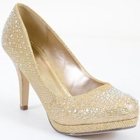Jeweled Glitter Beaded Formal Party Low Heels Gold Pumps