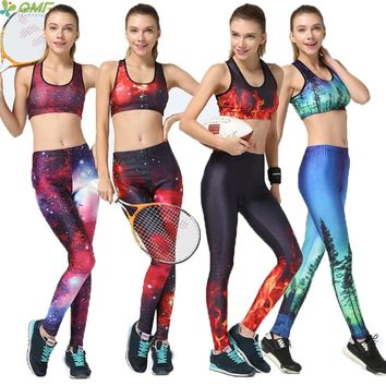 Popular Galaxy Women Sports Sets Fitness Gym Bras Nebula Stars Pants 3D Print Aurora Trees Nature Sky Yoga Set Tracksuit 2 PCS